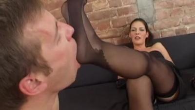 Foot slave smelling & sucking nylons stockings feet