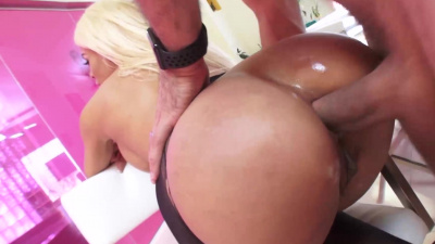 Cuban Luna Star get her pantyhose ripped & ass dicked down