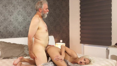Ria getting licked & penetrated by bf's old & perv dad