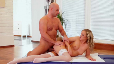 all-white lingerie and heels made masseur rock hard in a beat