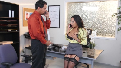 Boss Priya Price in stockings forces employee to fuck her in the office
