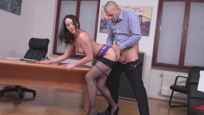 Slutty secretary Carolina June spread her ass for a boss