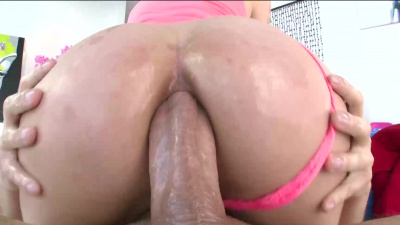 Dark-haired Harlow Harrison kneels for a throat-pounding blowjob and juicy assfuck