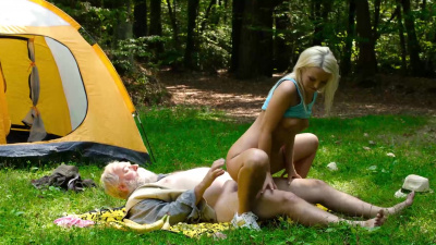 Cutie Lovita Fate jumping on old dick near tent
