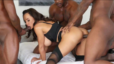MILF superstar Lisa Ann takes 5 black cocks at the same time