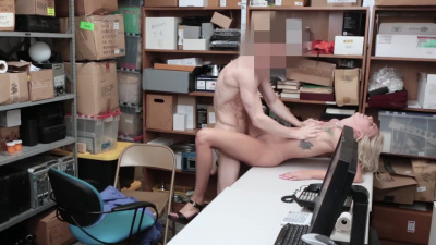 Pretty blondie Chanel Grey punished by officer