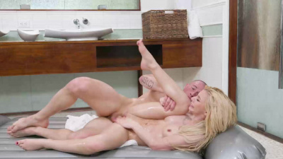 Petite blonde Kenzie Reeves having hardcore sex on air bed