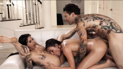 Adria Rae and Joanna Angel insane threesome with lots of oil