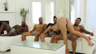 Sexual freak Mandy Muse gets her holes attacked with erected black dicks