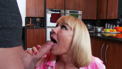 Nerd guy finishes off his friend's mom Mellanie Monroe by dropping his load on her big tits