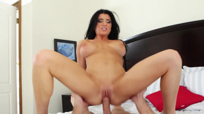 Hot brunette Romi Rain bangs lucky stud's brain out in some steamy sex session