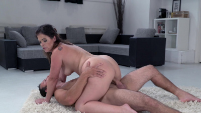 Thick milf Monste Swinger slurping her bosses cock with her hungry mouth