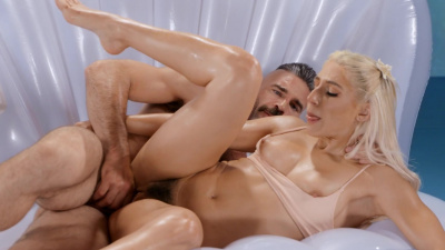 Sexy sea goddess Abella Danger feeds on eager hard dick