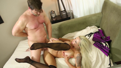 Shapely blonde Nina elle has sex with her husband's assistant