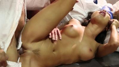 Asian sex bot Asa Akira doing gang bang test