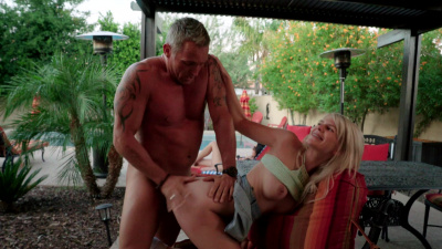 Megan Holly pops daddy's dick out to suck and fuck