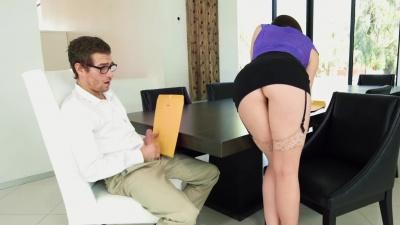 Busty boss Chanel Preston gets fucked & sucks her employee's cock dry