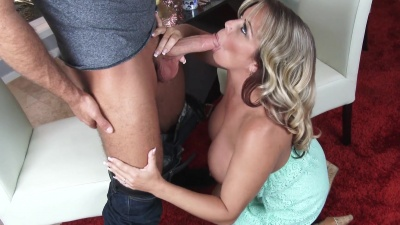 Amber Lynn Bach seduces & rides seller's cock for a sticky creampie