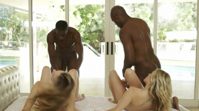 Jillian Janson and Karla Kush spit roasted by both of the big black dicks