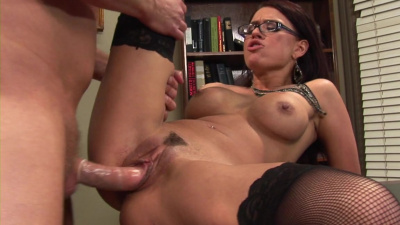 Chick in glasses Eva Angelina creamed by her boss