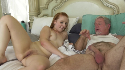 Young redhead Cleo Clementine has a thing for an old men