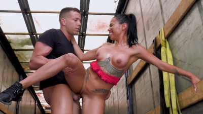 Stacked latina Canela Skin getting fucked in an open truck