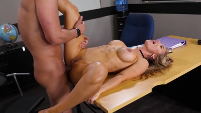 Professor Nicole Aniston gets nailed over her classrom desk by her student