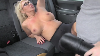 Miss Makepeace does a double handed bj then rides cabbie's cock